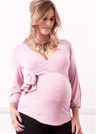 Queen Bee Olivia Pink Wrap Maternity Blouse by Trimester Clothing