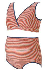 Queen Bee Cora Orange Striped Maternity/Nursing Sleep Bra by QueenBee