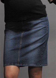 Queen Bee Belted Denim Maternity Skirt by Maternal America
