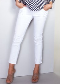Queen Bee White Skinny Ankle Maternity Jeans by Maternal America