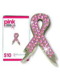 NBCF - Pink Ribbon Diamante Pin