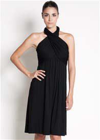 Queen Bee Sienna Halter Nursing Dress in Black by Dote Nursingwear