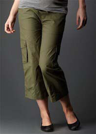 Queen Bee Maternity Band 3/4 Cargo Pant in Khaki by Soon Maternity
