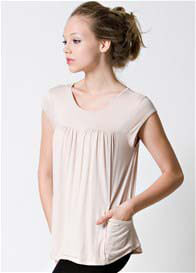 Queen Bee Lindsay Pocket Nursing Top in Beige by Dote Nursingwear