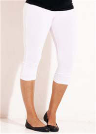 Queen Bee Oasis 3/4 White Maternity Leggings by Trimester Clothing
