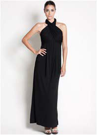 Queen Bee Sienna Halter Maxi Nursing Dress in Black by Dote Nursingwear