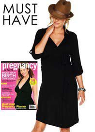 Trimester™ - Astute Collared Wrap Dress in Classic Black