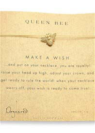 Dogeared - Queen Bee Gold Dipped Make a Wish Necklace on Gold