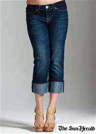 Queen Bee Nicky Azur Cuffed Maternity Capri Jeans by Mavi