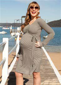 Queen Bee Maddox Black Stripe Maternity/Nursing Dress by Quack Nursingwear