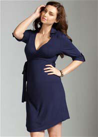 Trimester™ - Astute Collared Wrap Dress in Navy