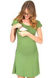 Quack Nursingwear - Cameron Angel Sleeve Dress in Green