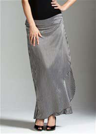 Queen Bee Opulent Satin Wrap Maternity Maxi Skirt by Trimester Clothing