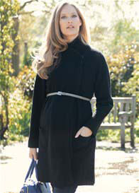 Queen Bee Lambswool Black Maternity Coatigan (Coat/Cardigan) by Seraphine