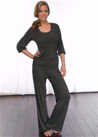 La Leche League - 2 pc Charcoal Nursing PJ Set