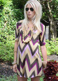 More of Me - Gold Ikat Chevron Fave Shirtdress