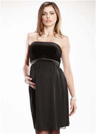 Queen Bee Black Strapless Velvet Maternity Dress by Maternal America