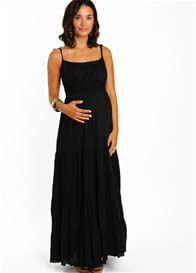 Queen Bee Black Poppy Tiered Maternity Maxi Dress by Everly Grey