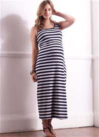 Queen Bee Caycee Blue Striped Maternity Maxi Dress by Trimester Clothing