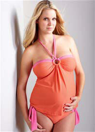 Queen Bee Tionne Coral Maternity Tankini Swimsuit by Maternal America