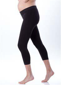 Queen Bee Under Bump Black Cropped Maternity Leggings by Seraphine