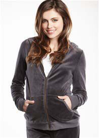 Queen Bee ZIP Velour Maternity Hoodie by Maternal America