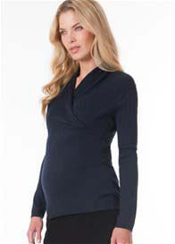 Seraphine - Navy Cable Knit Crossover Nursing Jumper