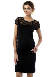 Queen Bee Dita Lace Insert Maternity Dress in Black by Seraphine