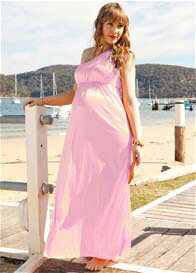 Trimester™ - Pink Shimmer One Shoulder Maxi Dress