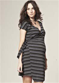 Queen Bee Bailey Black/Grey Striped Maternity Dress by Trimester Clothing