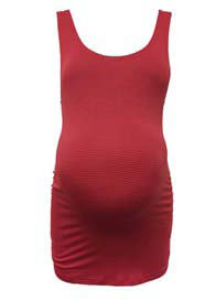 Queen Bee Cadmium Red Striped Maternity Tank Top by Trimester Clothing