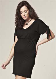 Queen Bee Anais Tie Black Maternity Dress by Trimester Clothing