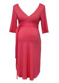 Queen Bee Ambrosia Red Stripe Wrap Maternity Dress by Trimester Clothing