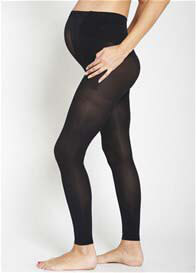 Queen Bee Footless Opaque Baby Bump Maternity Tights by Ambra