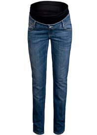 Queen Bee Classic Blue Straight Leg Maternity Jeans by Queen mum