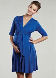 Queen Bee Royal Blue Mini Front Tie Maternity Dress by Maternal America