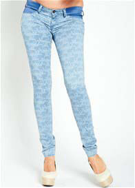 Queen Bee Reina Light Floral Print Skinny Maternity Jeans by Mavi
