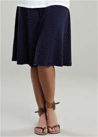 Queen Bee Navy Gold Spotted Maternity Skirt by Maternal America