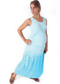 Queen Bee Glacier Blue Tiered Maternity Maxi Dress by Nuka Maternity