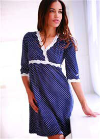 Queen Bee Kimono Maternity/Nursing Dress in Navy Polkadot by Belabumbum