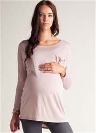 Queen Bee Morning Rose Pocket Maternity Tee by LA Made