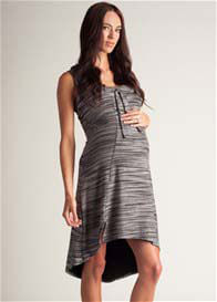 Queen Bee Dipped Hem Maternity Dress by LA Made