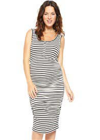 Queen Bee Black Striped Maternity/Nursing Tank Dress by NOM Maternity