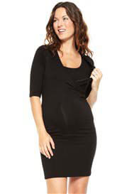 Queen Bee Black Surplice Maternity/Nursing Dress by NOM Maternity