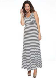 Queen Bee Striped Maternity/Nursing Maxi Dress by NOM Maternity