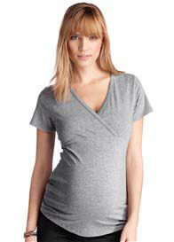 Queen Bee Short Sleeve Crossover Wrap Maternity Tee by Esprit