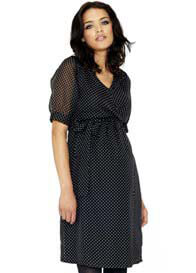 Queen Bee Key Hole Back Spot Maternity Dress by Crave