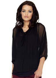Queen Bee Black Sheer Pussy Bow Maternity Evening Blouse by Crave