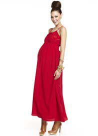 Queen Bee Olivia Red Silk Maternity Maxi Dress by More of Me