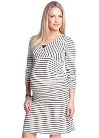 Queen Bee Navy Blue Striped Long Sleeved Maternity/Nursing Dress by Esprit